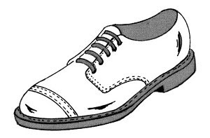 English: Line art drawing of shoe. Suomi: Piir...