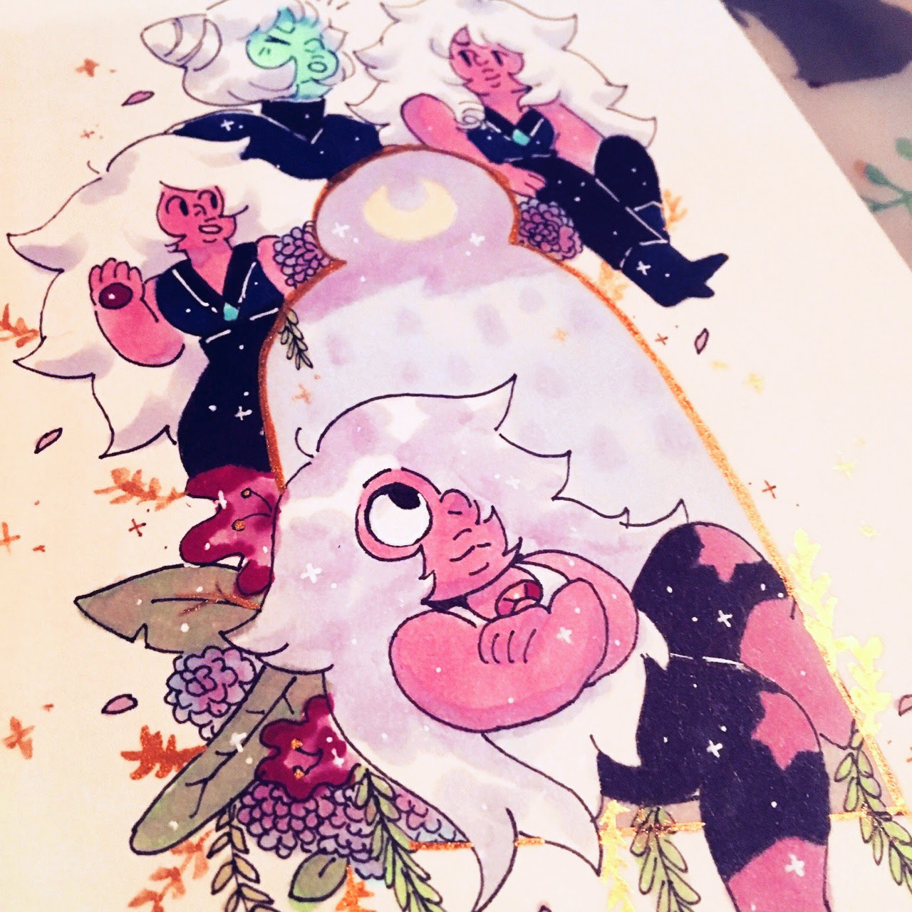 sketchbook things, watercolor + copic top is a rough draft for my part of a print exchange on ig! ♥