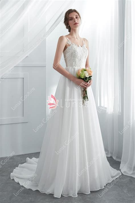 Ivory Illusion Neckline 3D Flower Lace Flowing Organza