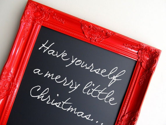 Christmas Red MAGNETIC CHALKBOARD Framed Chalkboard Kitchen Chalkboard Bulletin Board Holiday Decor Christmas Wedding Gift For Her