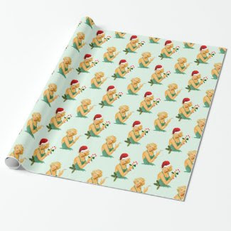 vintage pin up christmas wrapping paper