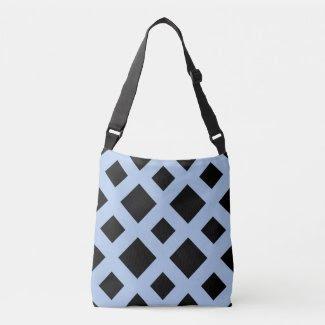 All-Over-Print Black Diamonds on Light Blue Tote Bag
