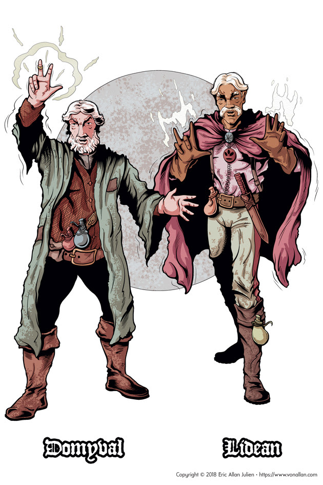 Concept art for the short story The Two Magic-Users featuring Domyval and Lidean by Von Allan