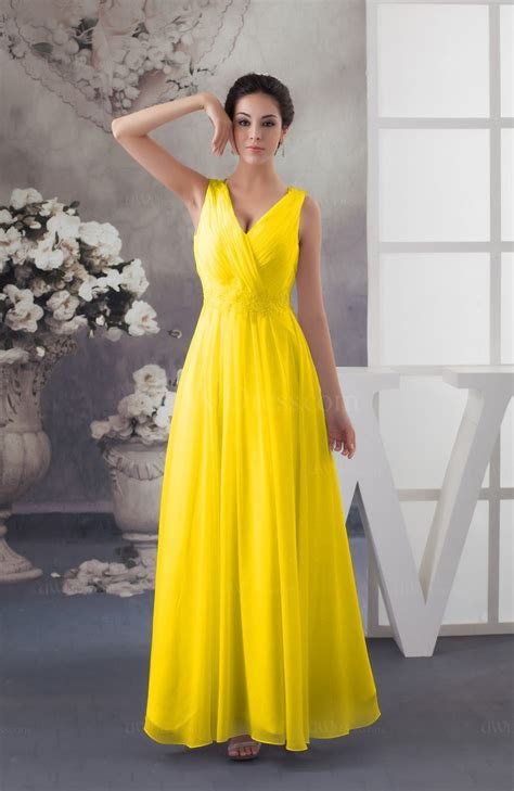 Yellow Chiffon Bridesmaid Dress Affordable Sexy Western