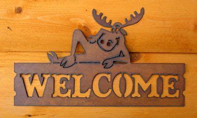Horizontal Whimsical Moose Welcome Sign   Rustic Home