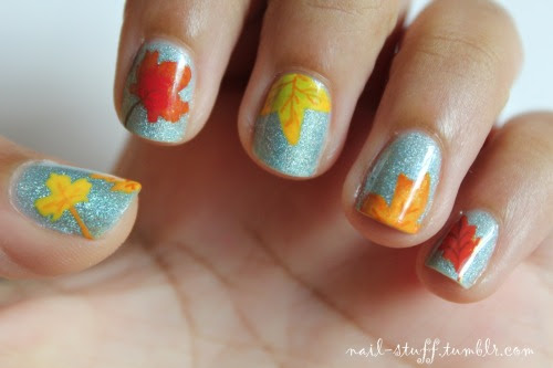 nail-stuff:  New nail design! I was asked to do a fall leaves design, so I decided to do fall leaves on water For the background I usedCyberspaceby Milani