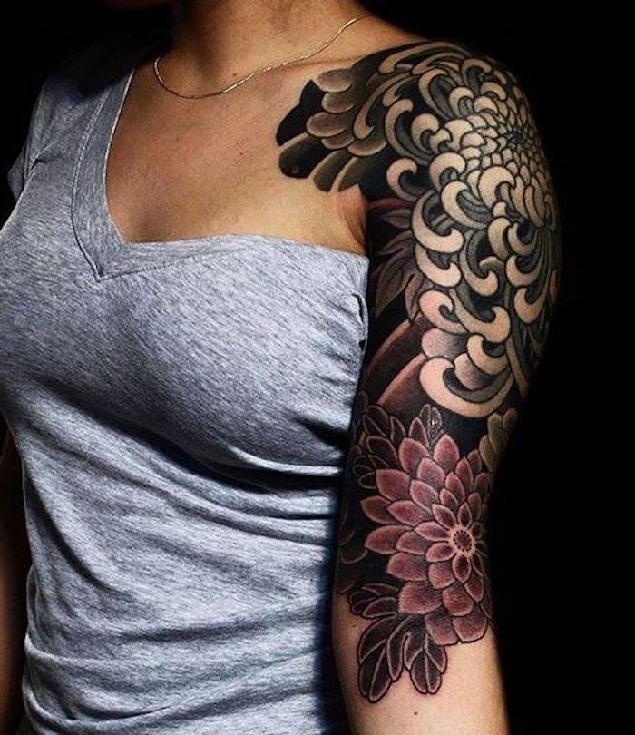 Frau tattoo vorlagen oberarm 42 Totenkopf