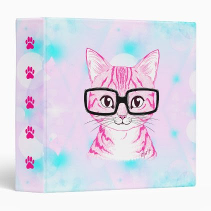 US Made Hand Drawn Nerdy Cat Art Binder