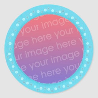 Your photo stickers, in a blue dots circle frame classic round sticker