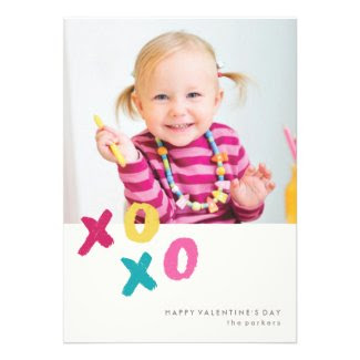 Painted XOXO A7 Valentine's Day Card - Turquoise