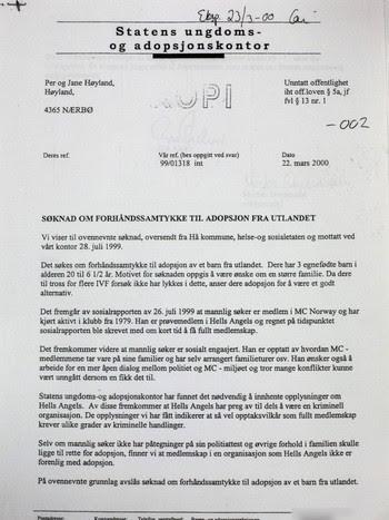 Adopsjonsdokument - Avslag frå Statens ungdoms- og adopsjonskontor 2000.