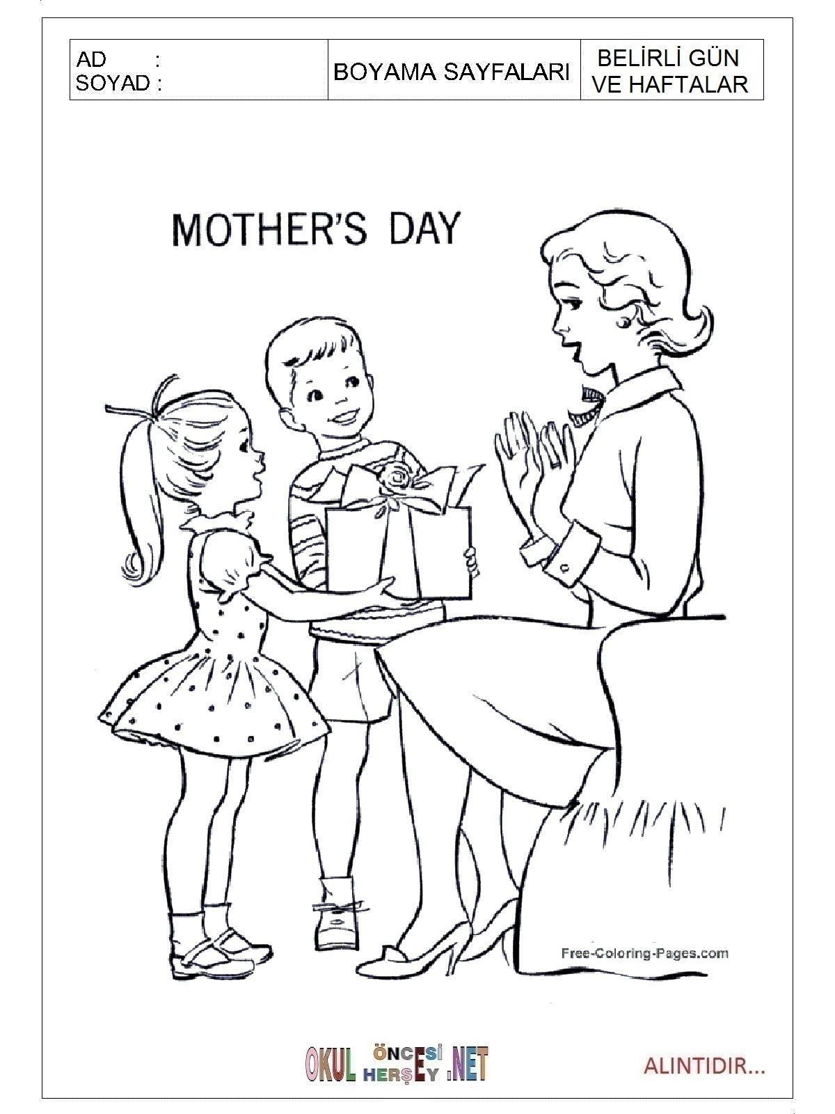 Anneler Günü Boyama Sayfaları