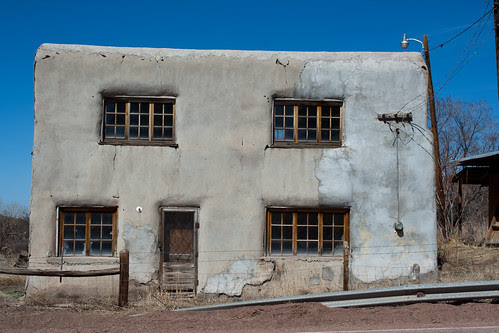 Old abode building in Las Trampas, New Mexico along the high road to Taos between Taos and Santa Fe, New Mexico