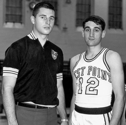 Army Black Knights head coach Bobby Knight poses with player Mike Krzyzewski circa 1966 in West Point, NY. (Army/Collegiate Images/Getty Images)