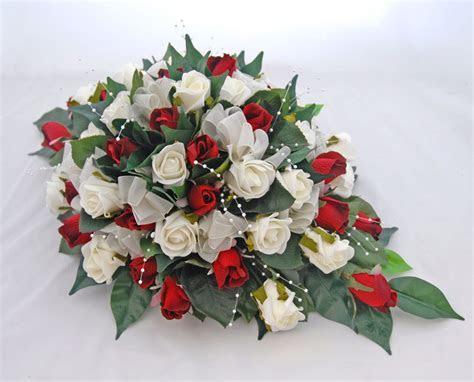Silk Red & Ivory Foam Rose Top Table Wedding Arrangement