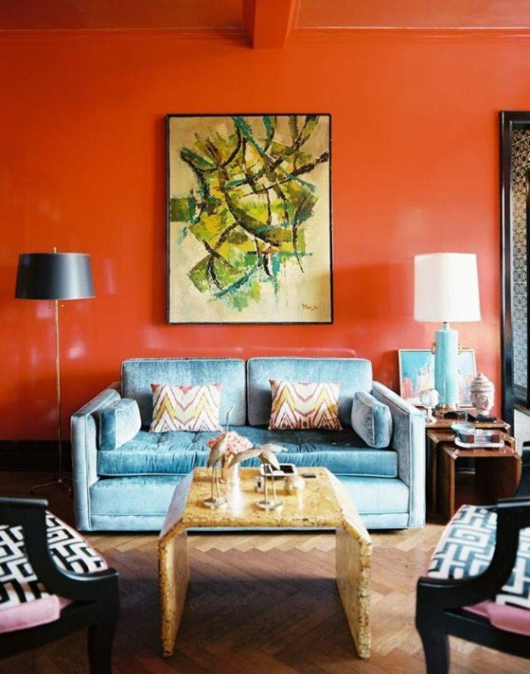 15 Lively Orange Living Room Design Ideas - Rilane