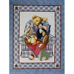 BJ Teddy Chair Bear Baby Panel Cheater Fabric Material Crib Quilt Top New BP-18