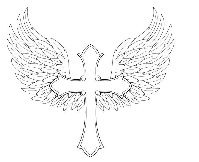 Cross With Banner Drawing At Getdrawingscom Free For Personal Use