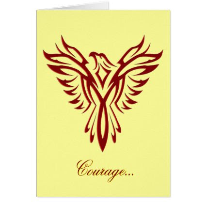 Courage - Crimson Phoenix Rising blank notelet Greeting Cards