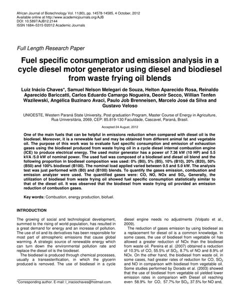 (PDF) Fuel specific consumption and emission analysis in a