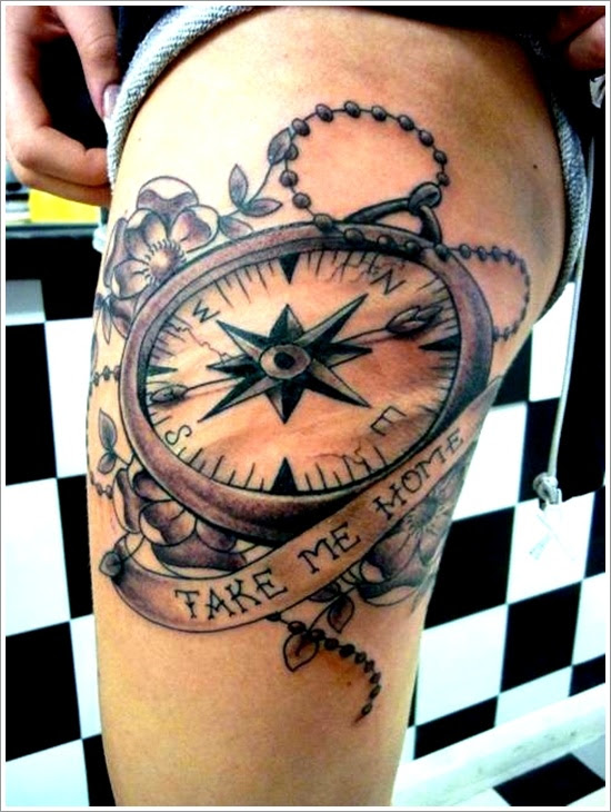 Take Me Home Banner And Compass Tattoo On Side Thigh