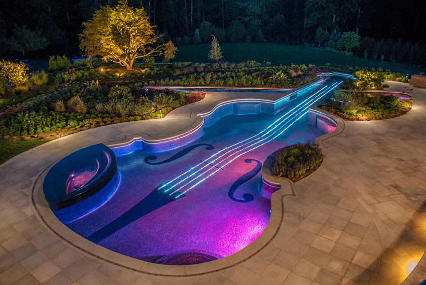 Music Themed Luxury Swimming Pool Design Wins Gold- Bergen County NJ