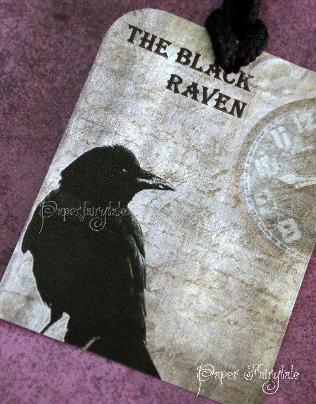 Черният гарван - Vintage Хелоуин Етикети за подаръци - Комплект от 6