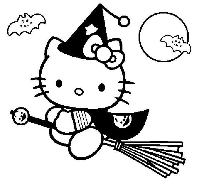 Coloriage A Imprimer Hello Kitty En Sorciere Sur Son Balai Gratuit