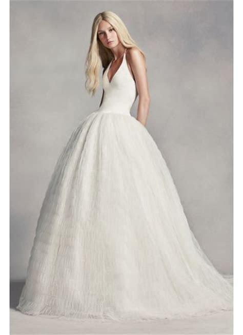 White by Vera Wang Halter Tulle Wedding Dress   David's Bridal