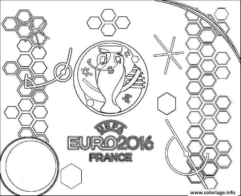 Coloriage Euro 2016 France Logo Championnat De Football Jecoloriecom