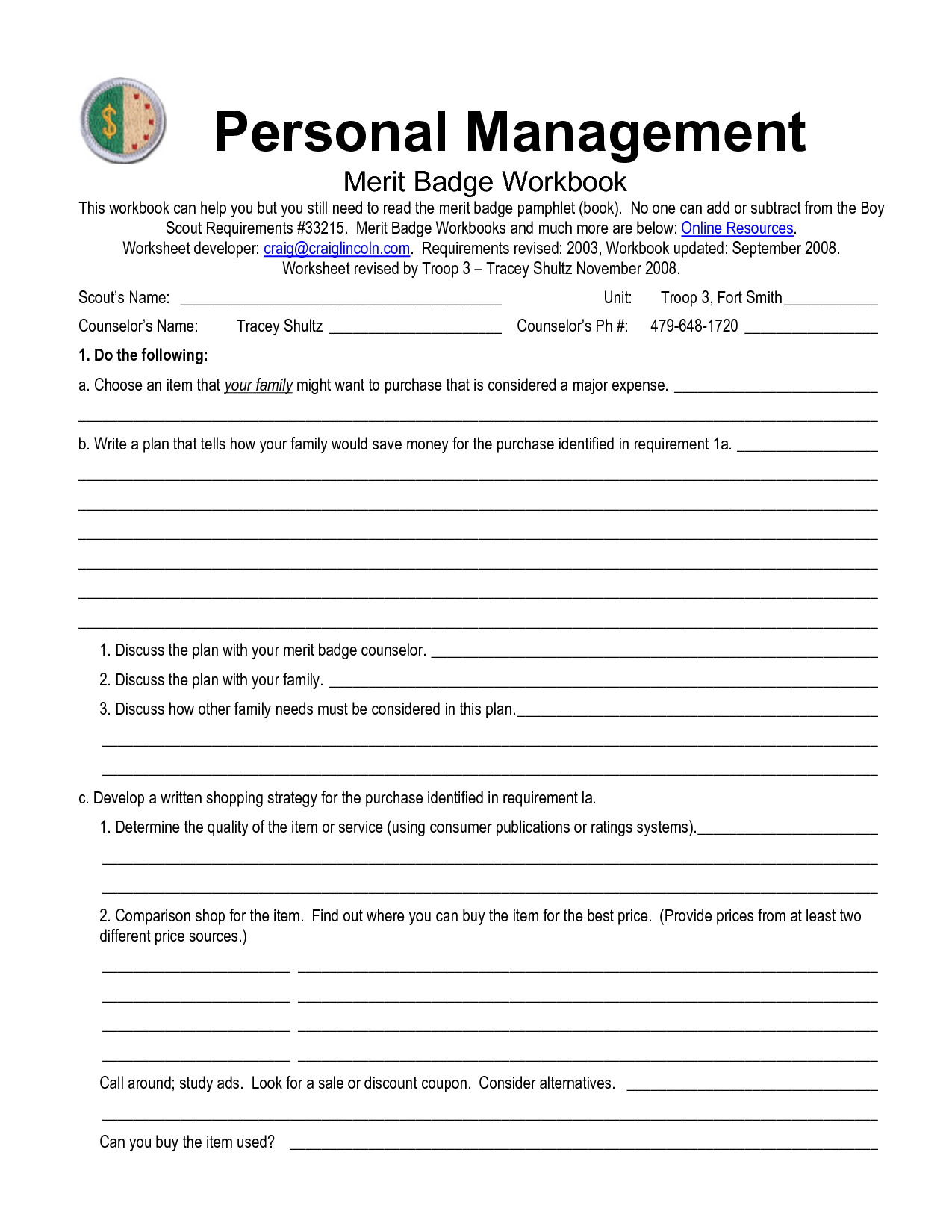 6 Best Images of Personal Management Merit Badge Worksheet  BSA Personal Management Merit Badge