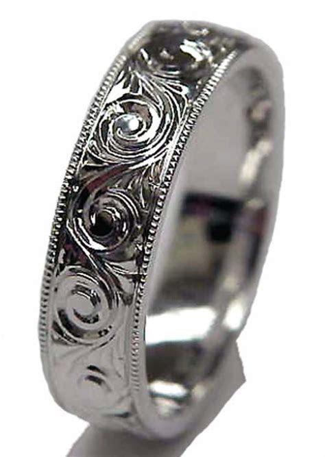 Wedding Band Engraved Patterns   Hand Engraved Ring in