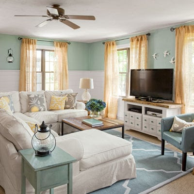 Coastal Cottage family room {before & after} | Four Generations ...