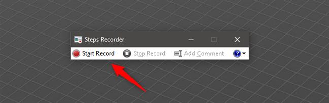 Iniciar grabación con Steps Recorder
