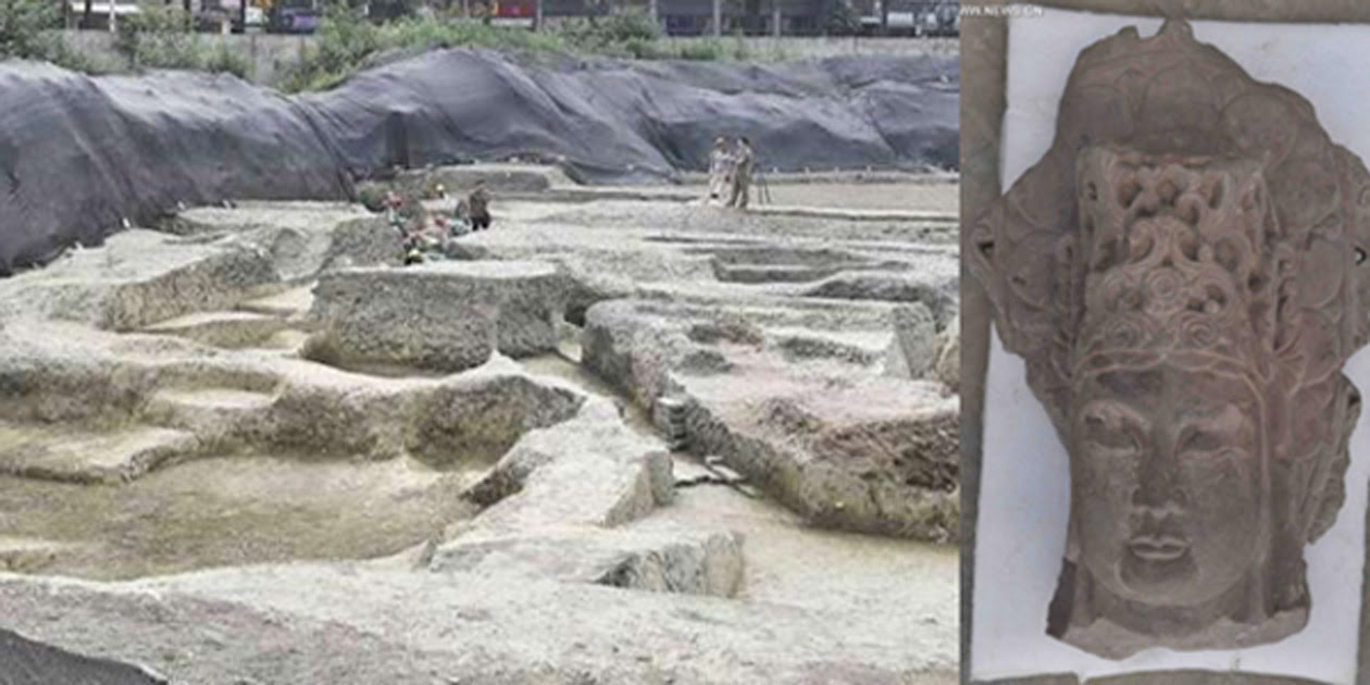 Remains of the famous Fugan Temple that was recently discovered in Chengdu, China.
