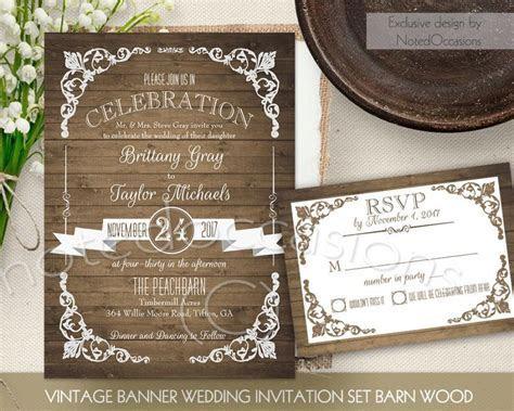 Rustic Wedding Invitation Printable Set Country Wedding
