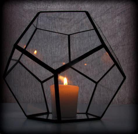 Hurricane Lantern / Glass Candle Holder / Geometric