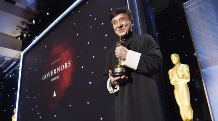 Honoree Jackie Chan poses onstage at the 2016 Governors Awards at the Dolby Ballroom on Saturday, Nov. 12, 2016, in Los Angeles. (Photo by Chris Pizzello /Invision/AP)