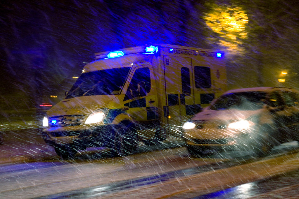 Ambulance in driving snow