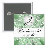 Monogram Bridal Party Mint Green Satin Design 2 Inch Square Button