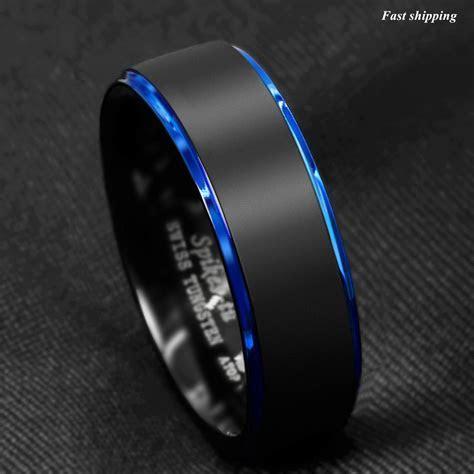 Tungsten Carbide ring rose gold black brushed Wedding Band