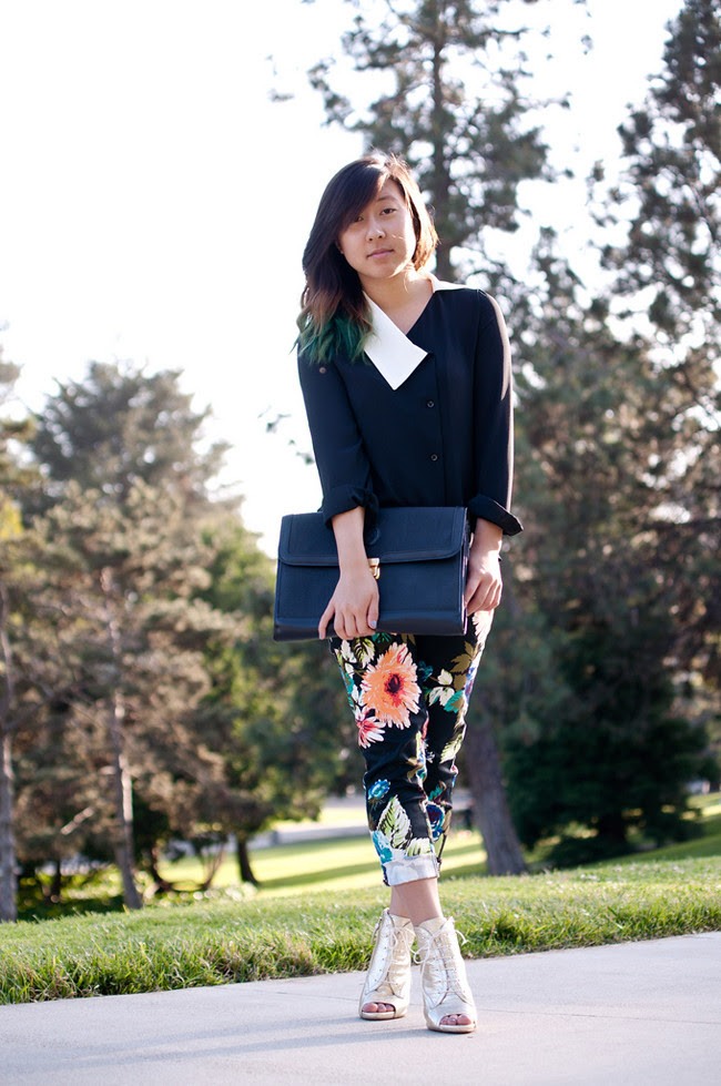 Korean asymmetrical blouse, H&M floral trouser, metallic gold Zara booties, thrifted oversized clutch