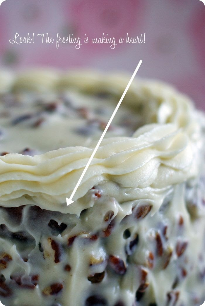 italian cream cake with heart frosting |bake at 350 blog