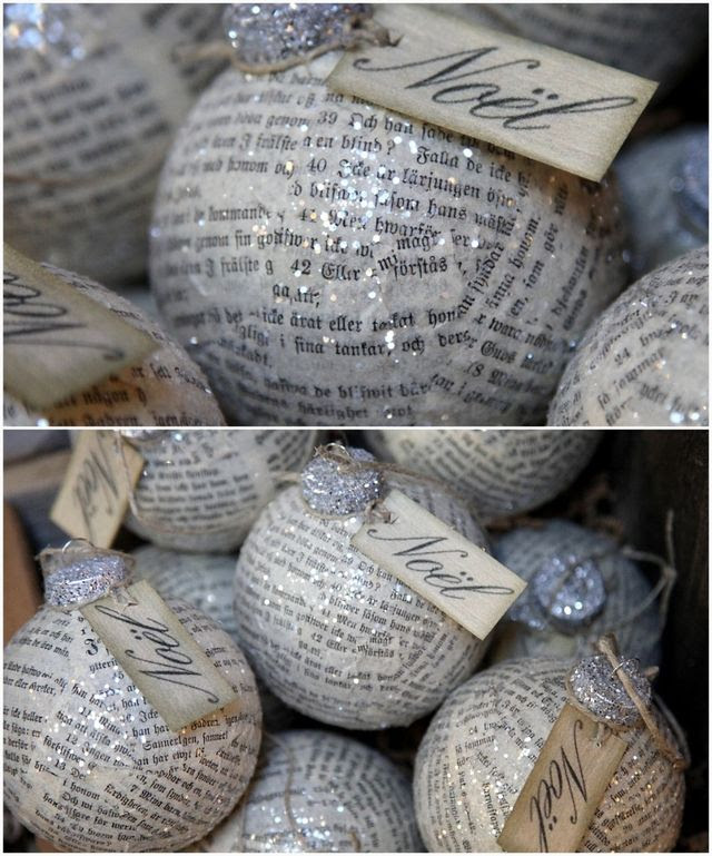 decoupaged newsprint ornaments