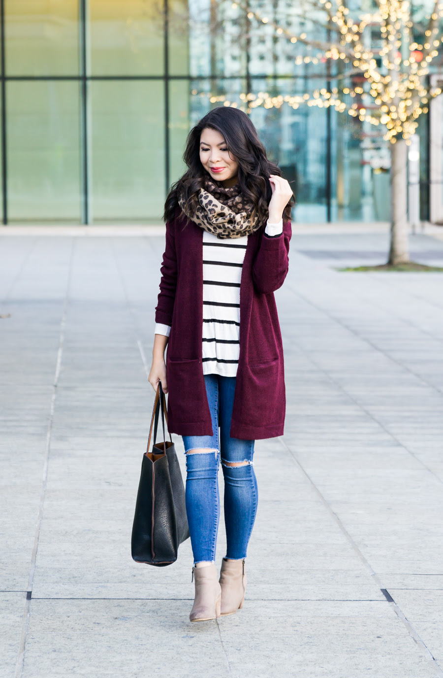 burgundy cardigan outfit  2017 new year's blog