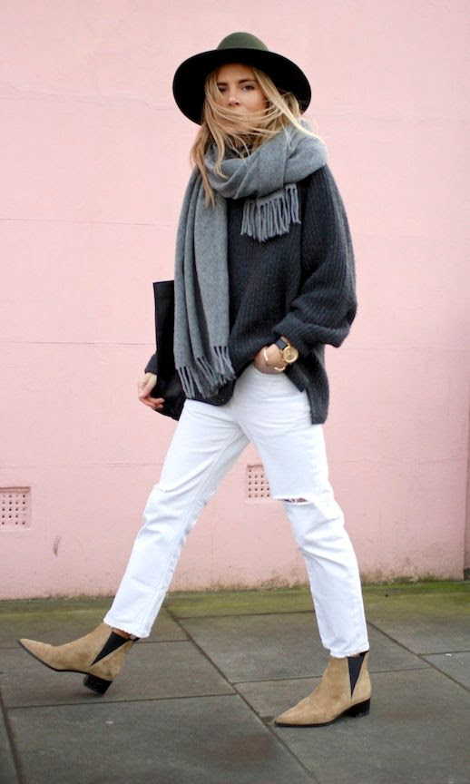 Le Fashion Blog Winter Style Green Fedora Oversized Grey Scarf Relaxed Turtleneck Knit White Distressed Boyfriend Jeans Suede Acne Studios Ankle Boots Via Fashion Me Now