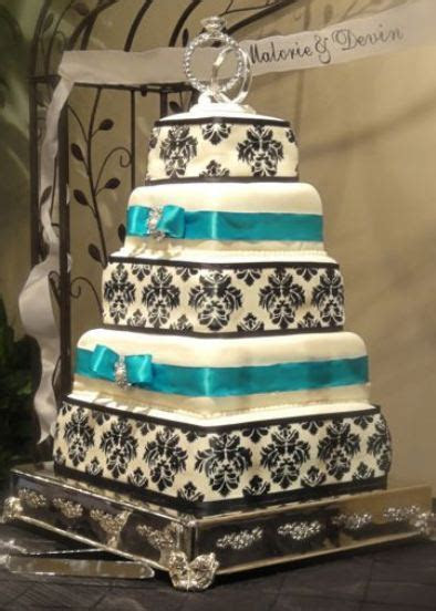 5 tier rectangular wedding cake in white with black accent