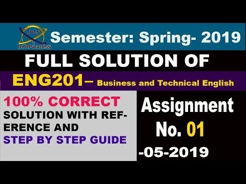 ENG201 Assignment No 1 Solution Spring 2019