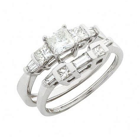 1 CT. T.W. Princess Cut and Baguette Diamond Bridal Set in