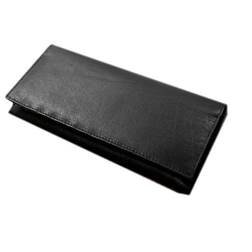 UNDER LABEL 高級素材バッファローをハンドメイドで仕上げた 長財布 インド製 水牛革 (ブラック)